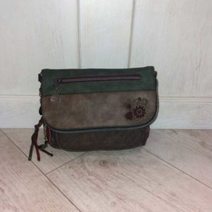 bolso bandolera bordado marron