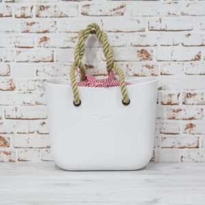 O Bag blanco + asas largas de cuerda natural + bolsa interior knot