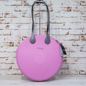 Bolso O bag twist mini rosa + asas largas xs ecopiel gris