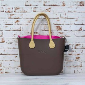 O Bag chocolate + asas largas de eco piel martillada natural + saca fucsia