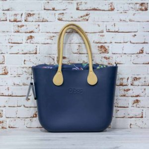 O Bag navy + asas largas + Bolsa interna estampado japonés